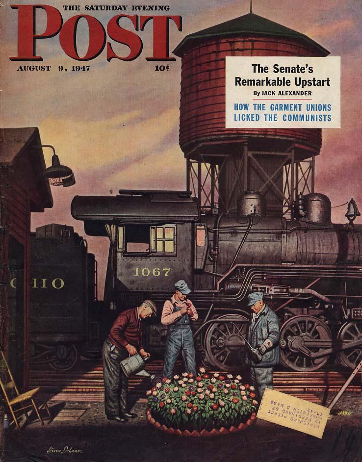 SATURDAY EVENING POST COVER 1947 steam loco crew flower bed Stevan Dohanos