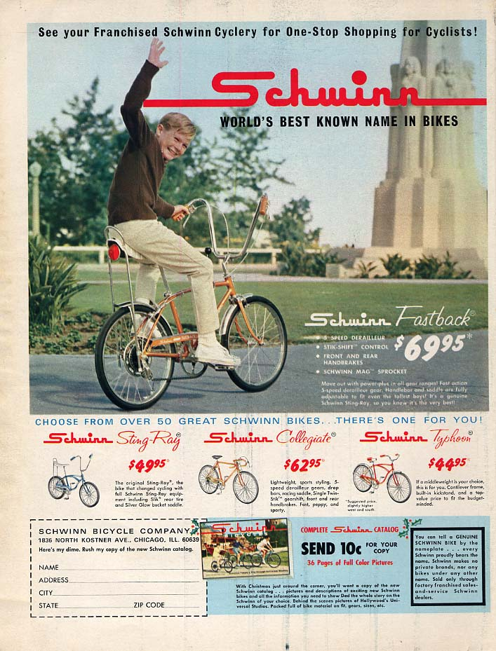 Best known name in Bikes Schwinn Fastback Sting-Ray Typhoon bicycle ad 1967 BL