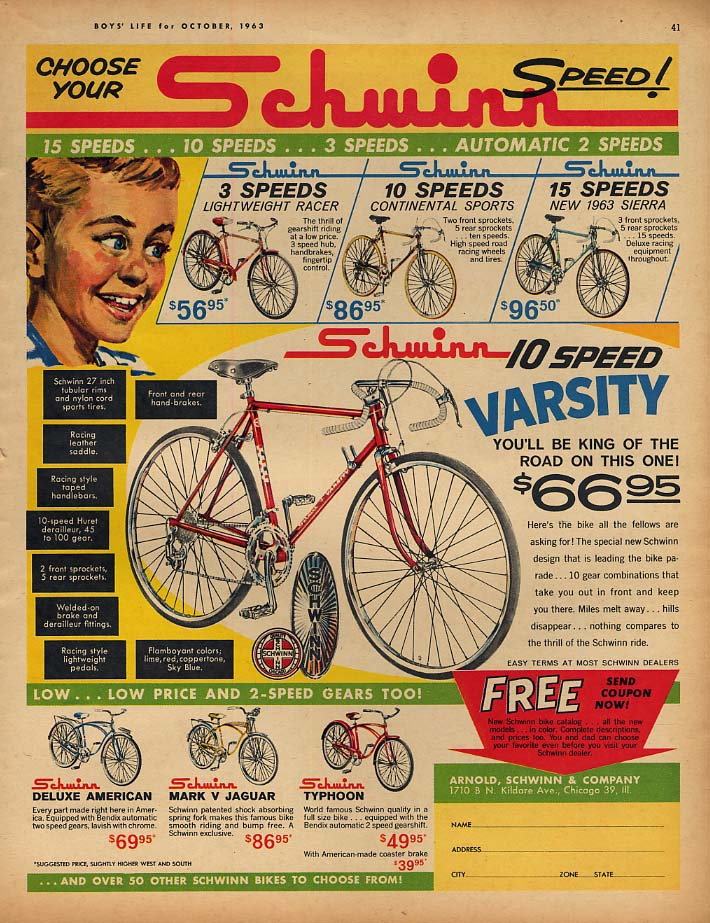 Choose your speed! Schwinn Varsity Sierra & Continental bicycle ad 1963 BL