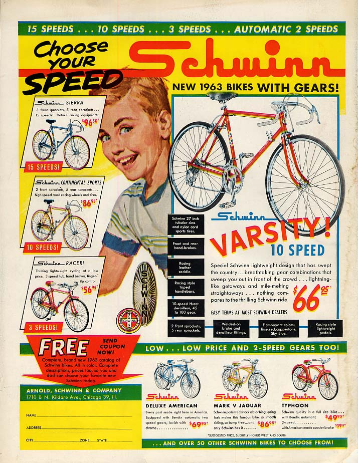 Choose your speed! Schwinn Varsity Sierra Typhoon Jaguar Racer bicycle ad 1963