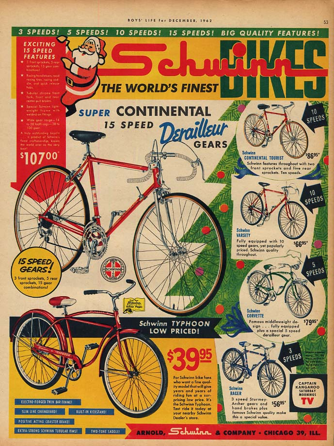 World's finest Schwinn Continental Typhoon Varsity Corvette ++ bicycle ad 1962