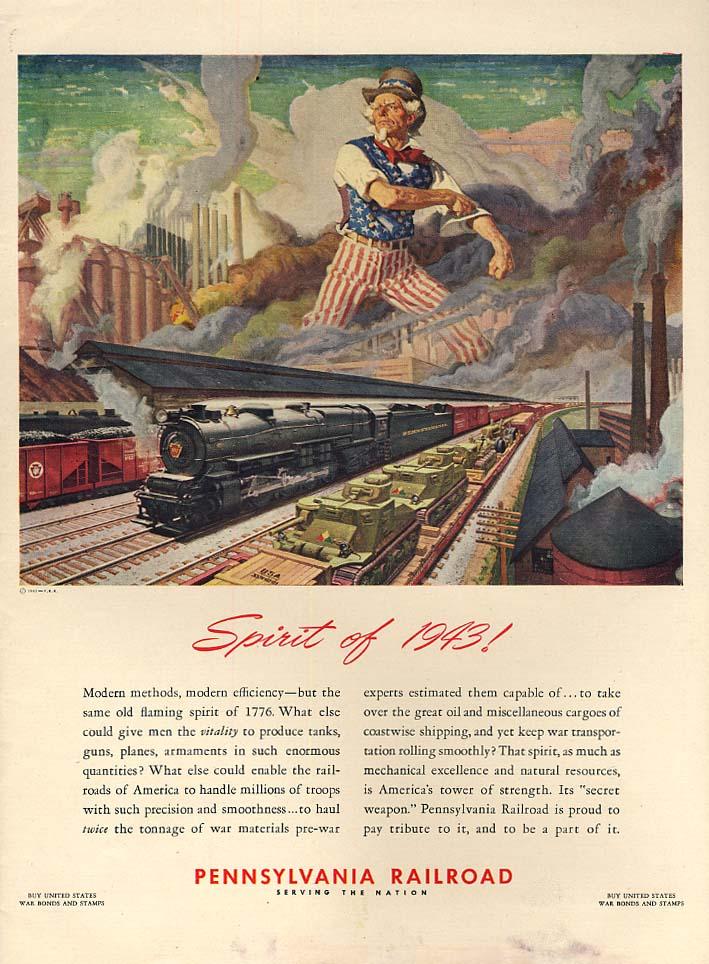 Spirit of '43 Pennsylvania Railroad 4-8-2 J1 locomotive ad 1943 L