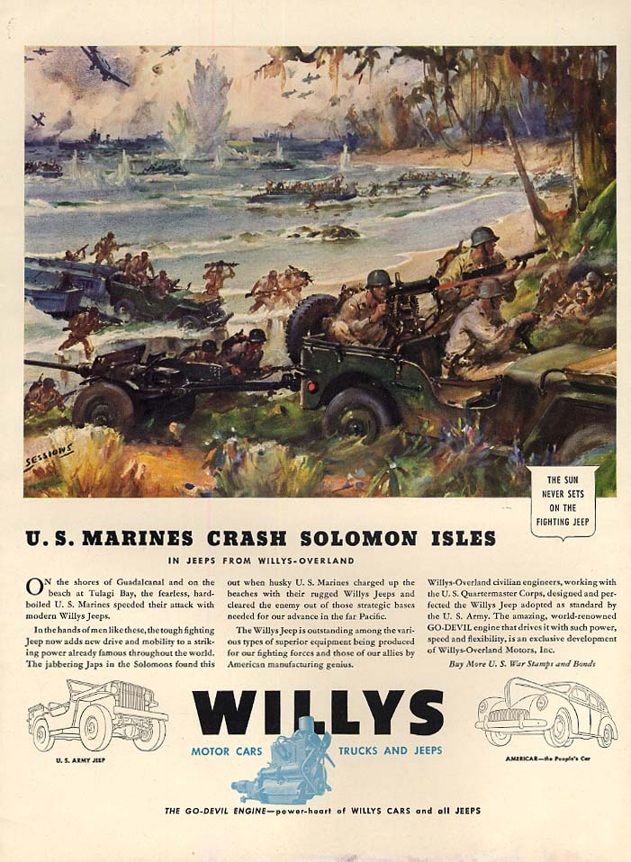 Image for US Marines Crash Solomon Isles in Willy Jeep ad 1943 L Sessions art