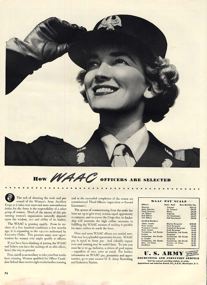 How WAAC Officers are Selected US Army Women's Army Auxiliary Corps ad 1943 L