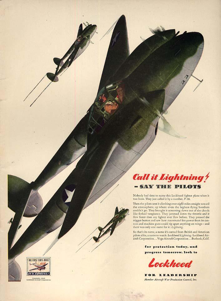 Call it Lightning! - say the pilots - Lockheed P-38 ad 1943 L