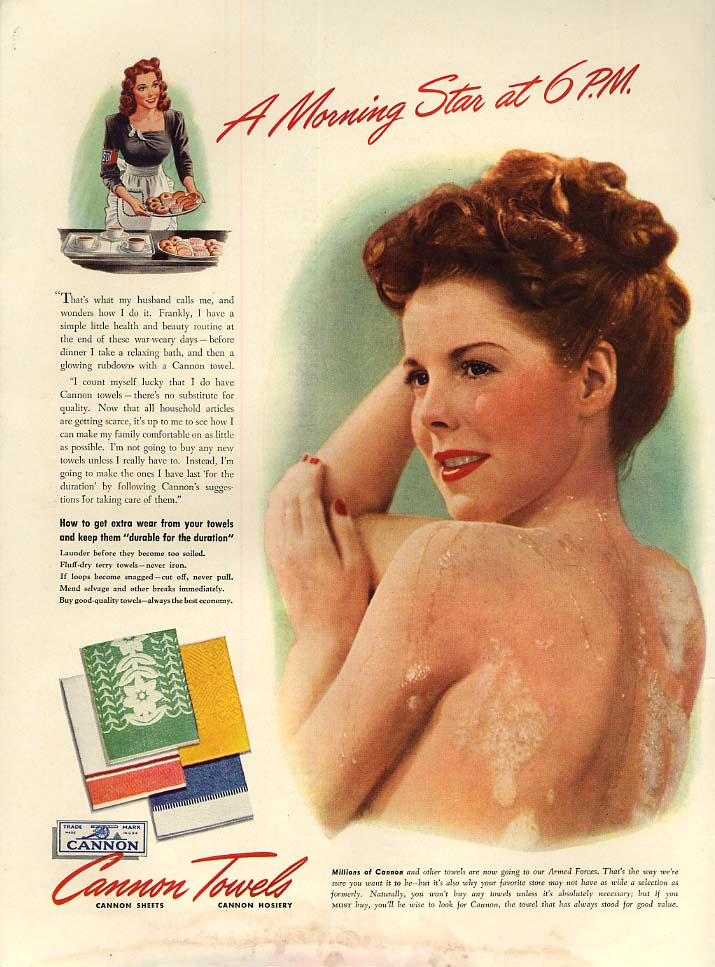 A Morning Star at 6 PM Cannon Towels shower nude ad 1943 L