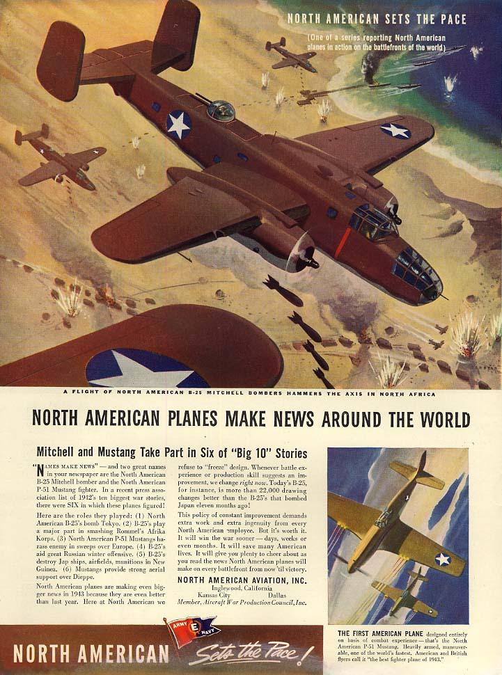North American planes make news B-25 Mitchell & P-51 Mustang ad 1943 L
