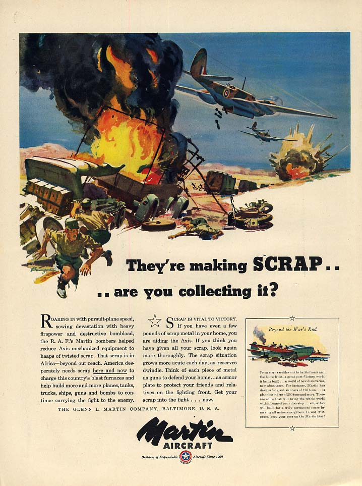 They're making scrap - RAF Martin A-22 Bomber ad 1943 L