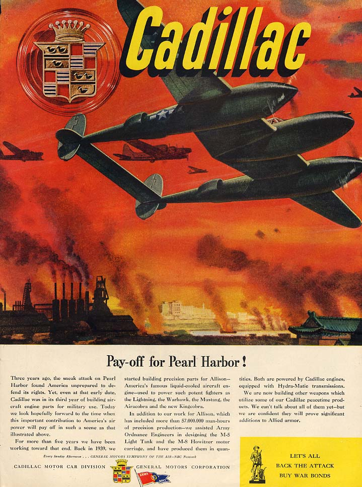 Pay-off for Pearl Harbor! Cadillac Lockheed P-38 Lightning ad 1944 L