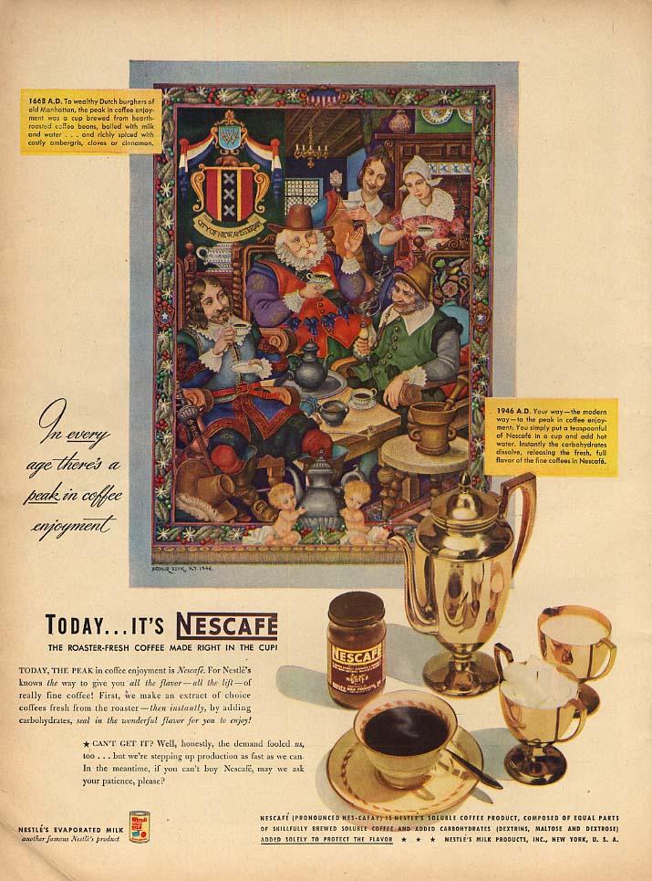 1668 Dutch Burghers drink coffee Nescafe ad 1946 Arthur Szyk artwork L