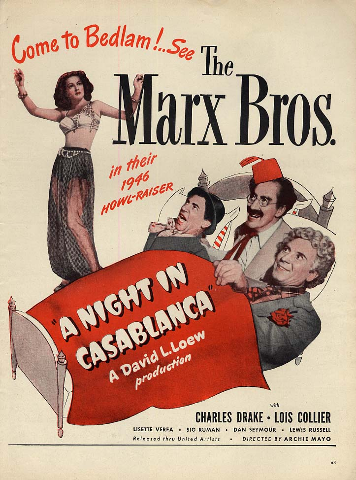 Come to Bedlam! Marx Brothers in A Night in Casablanca MAGAZINE AD 1946 L
