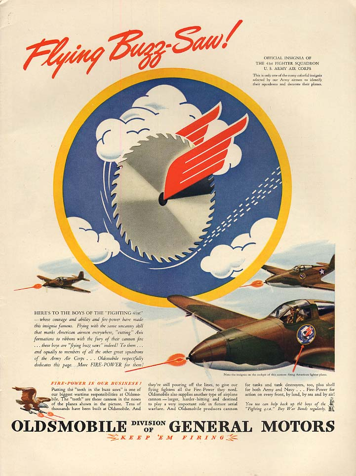 Flying Buzz-Saw 41st Fighter Squadron Bell P-39 Airacobra - Oldsmobile ad 1943 L
