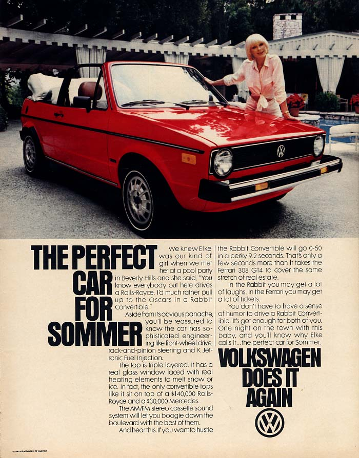 The Perfect Can for Elke Sommer - Volkswagen Rabbit Convertible ad 1981 L