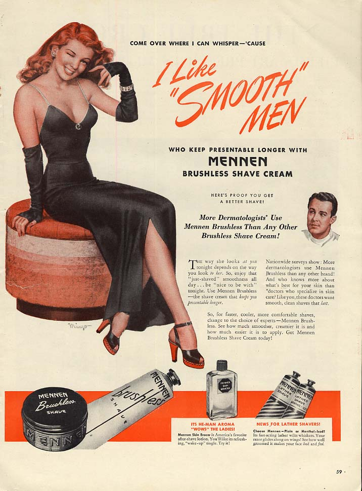 I Like Smooth Men Mennen Brushless Shave Cream ad 1946 Mingo pin-up girl L