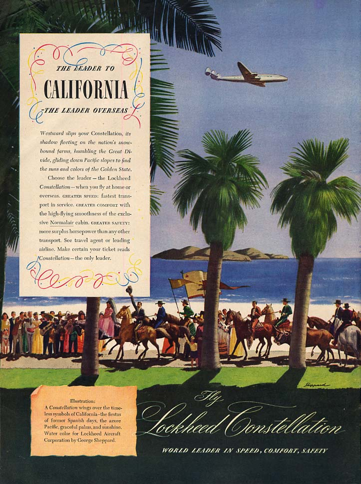 The Leader to California - Lockheed Constellation ad 1946 L