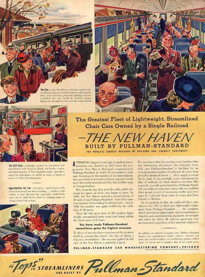 Lightweight Streamlined Chair cars for New Haven Railroad by Pullman ad 1940 L