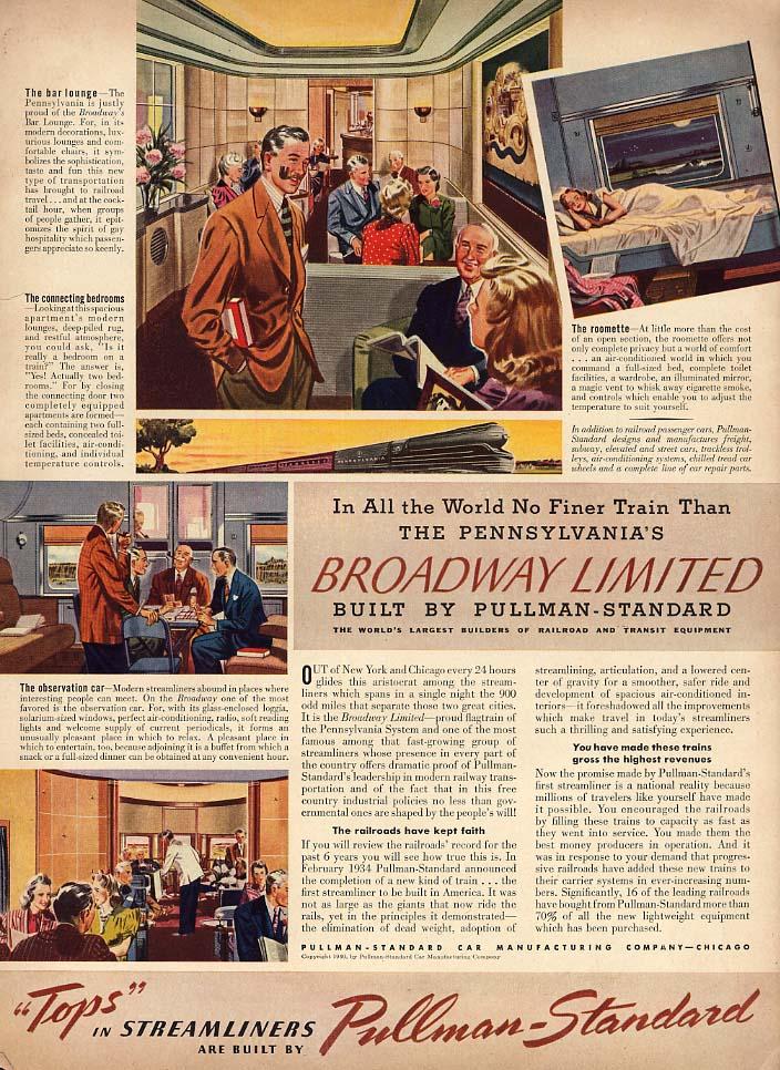 Pennsylvania Railroad's Broadway Limited by Pullman ad 1940 L