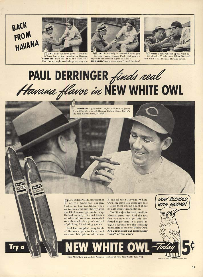 Cincinnati Reds Paul Derringer for White Owl Cigars ad 1940 L