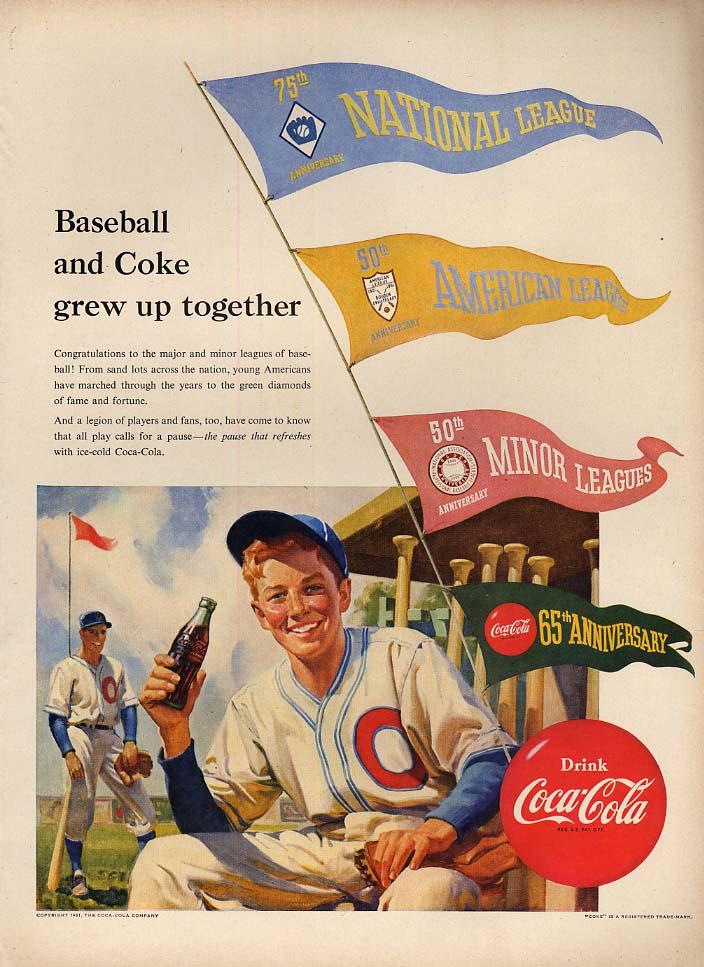 Image for 65th Anniversary American National & Minor League Baseball - Coca-Cola ad 1951 L