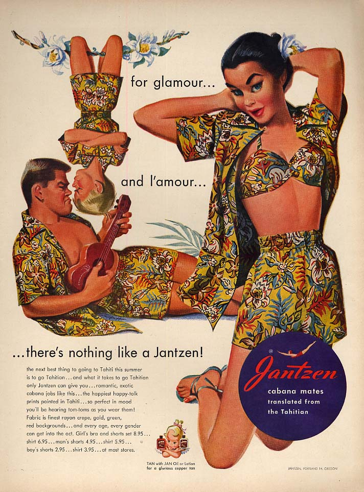 For glamour and l'amour Jantzen Sportswear ad 1951 Pete Hawley pin-up L