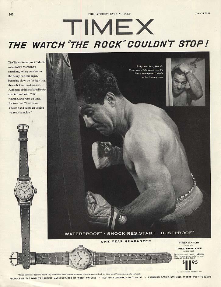 Heavyweight Champ Rocky Marciano tests Timex Wrist Watch ad 1954 P
