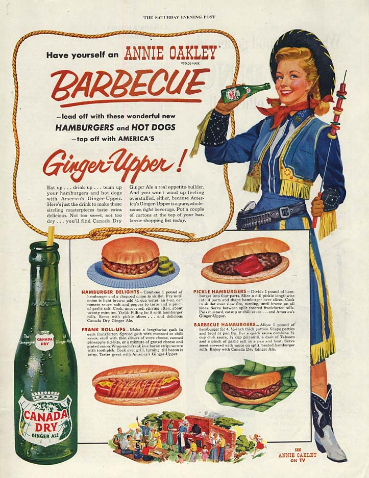 Gail Davis as Annie Oakley for Canada Dry Ginger Ale ad 1954 P