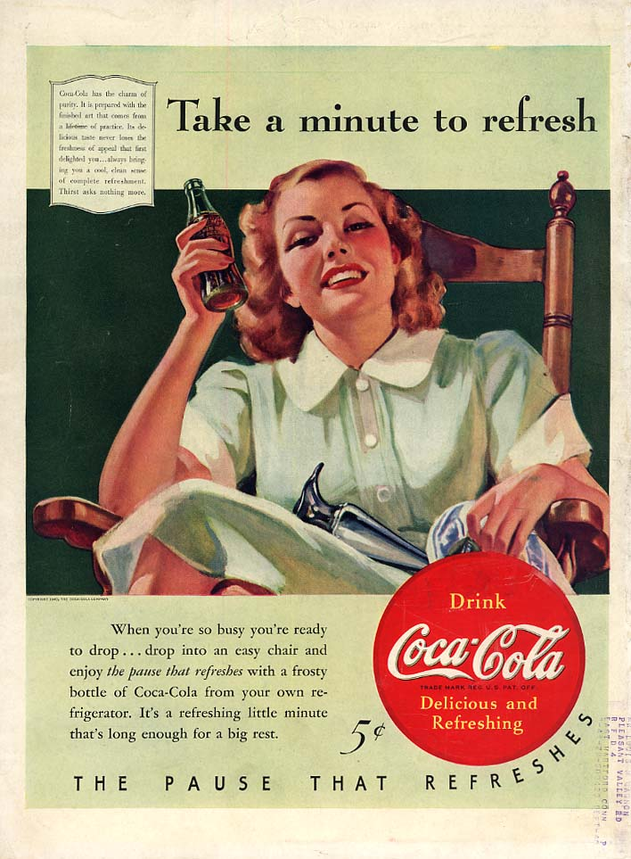 Take a minute to refresh Coca-Cola ad 1940 housewife by Sundblom L