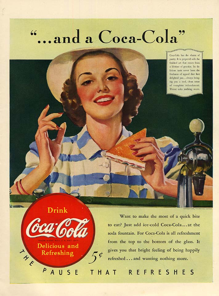 """Image for """"and a Coca-Cola"""" ad 1940 Girl at soda fountain by Sundblom L"""