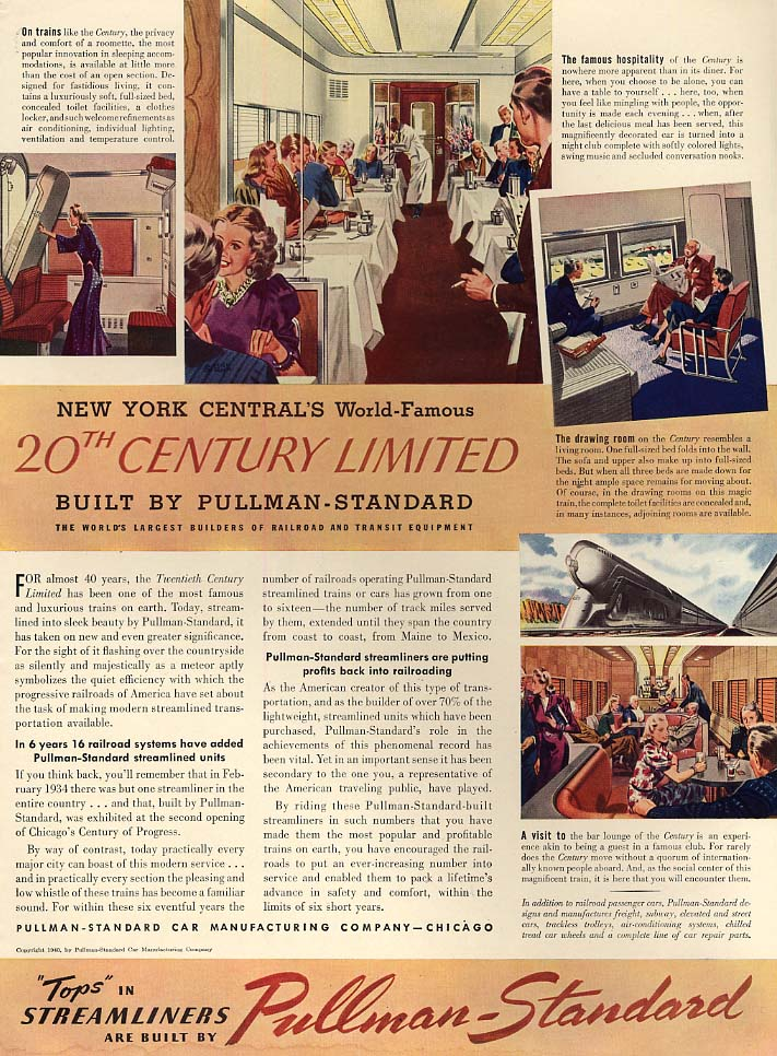 New York Central 20th Century Limited Pullman-Standard ad 1940 L