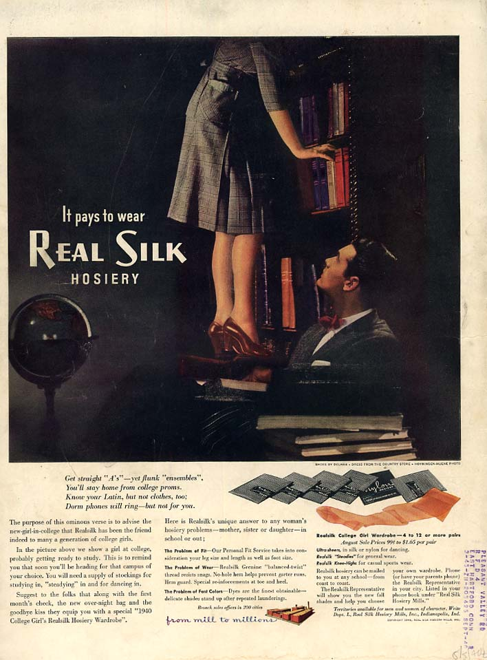 It pays to wear Real Silk Hosiery ad 1940 upskirt in the library L