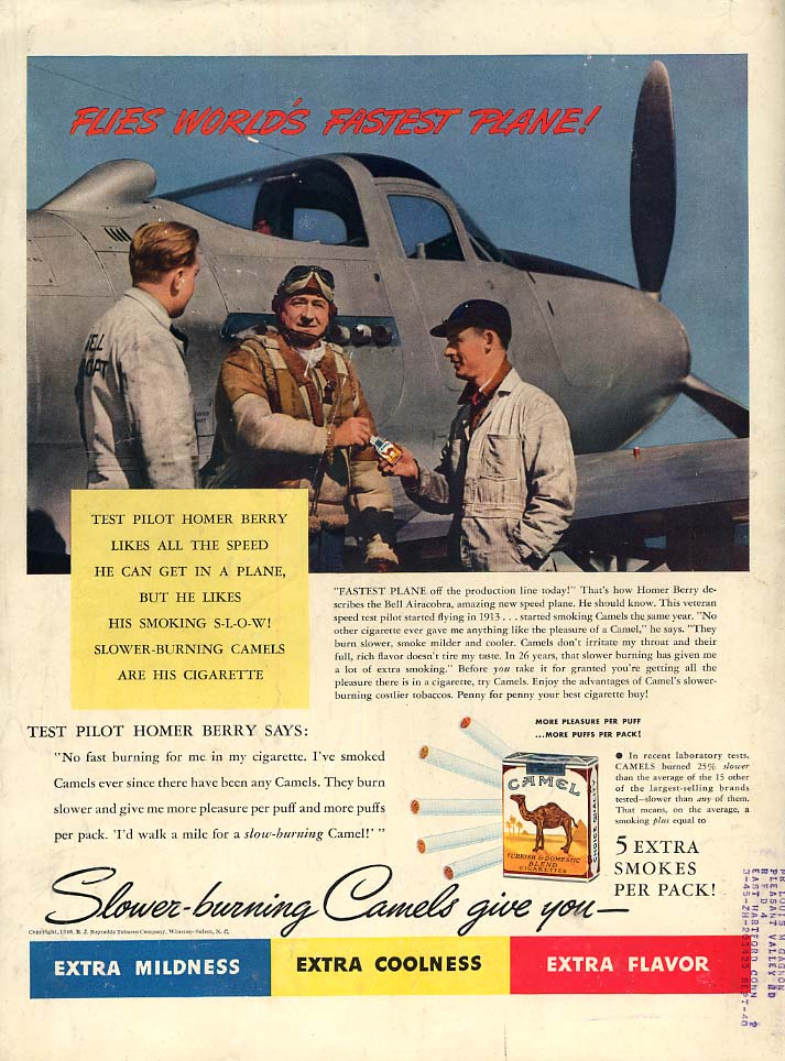 Test pilot Homer Berry flies Bell P-39 Airacobra for Camel Cigarettes ad 1940 L
