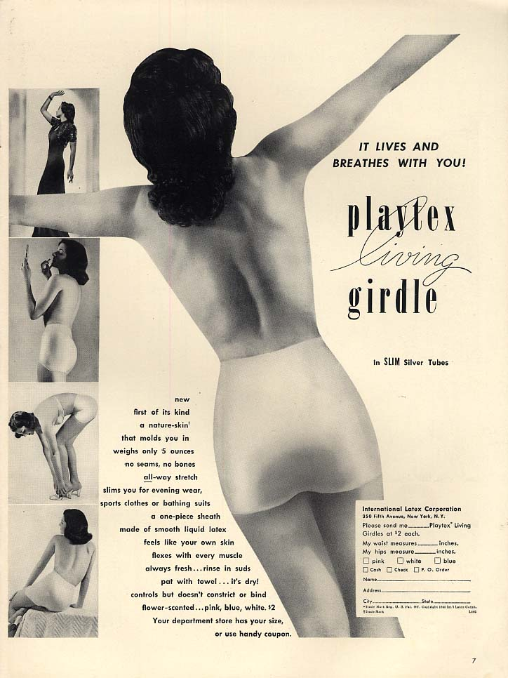It lives and breathes with you Playtex Living Girdle ad 1940 L