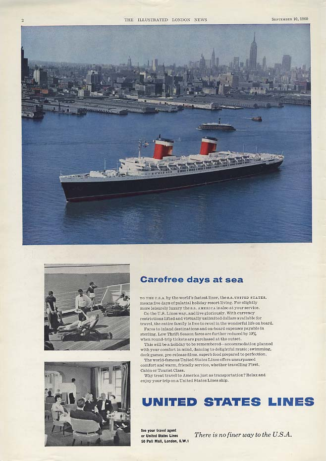 Carefree days at sea - S S United States ad 1960 ILN