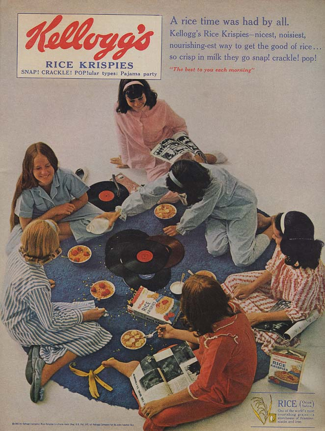 A rice time was had Kellogg's Rice Krispies ad 1965 pre-teen girls pajama party