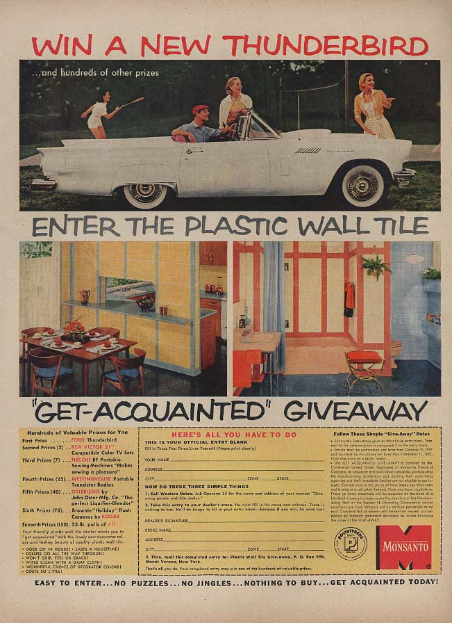 Image for Win a New Thunderbird Contest Monsanto Plastic Wall Tile ad 1957 L
