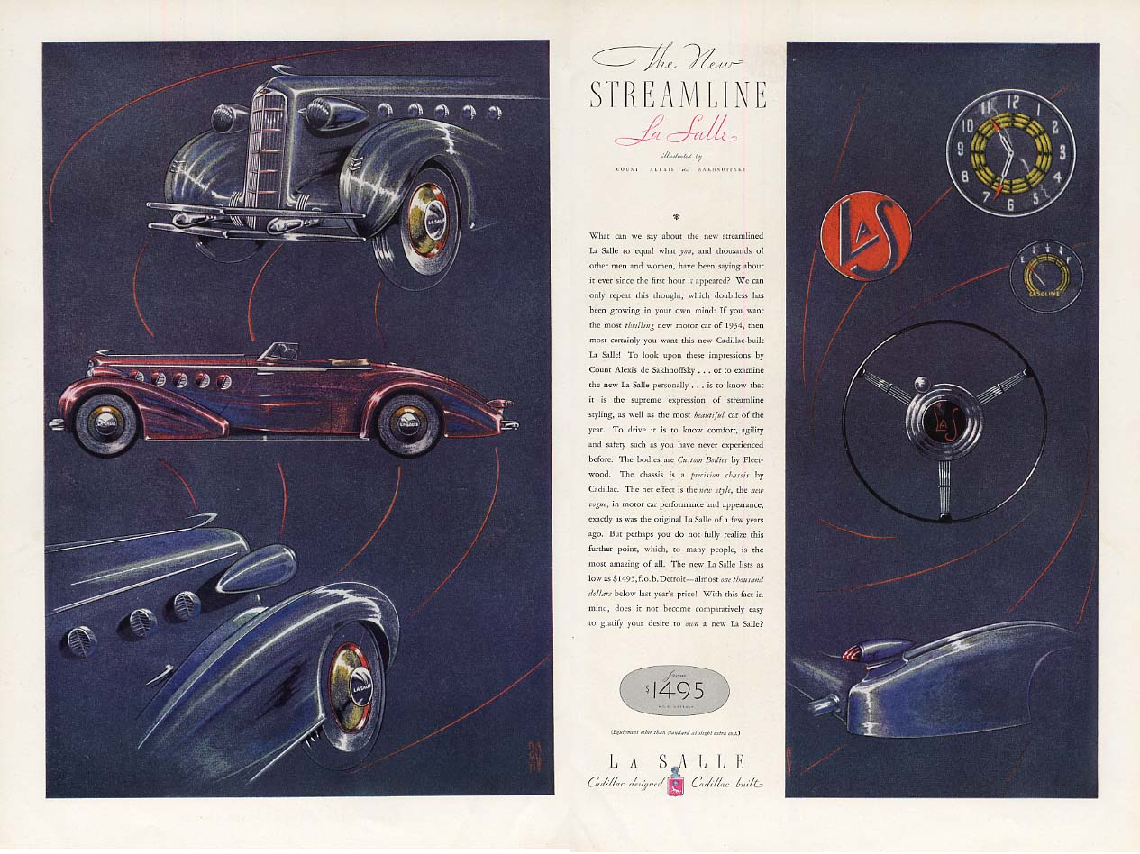 The New Streamline La Salle by Count Alexis de Sakhanoffsky ad 1934 ESQ