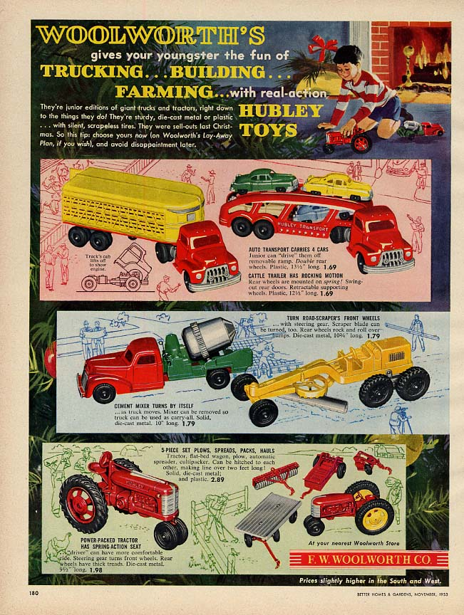 Woolworth's Hubley Toys ad 1953 trucks road-grader tractor farm implements 1953