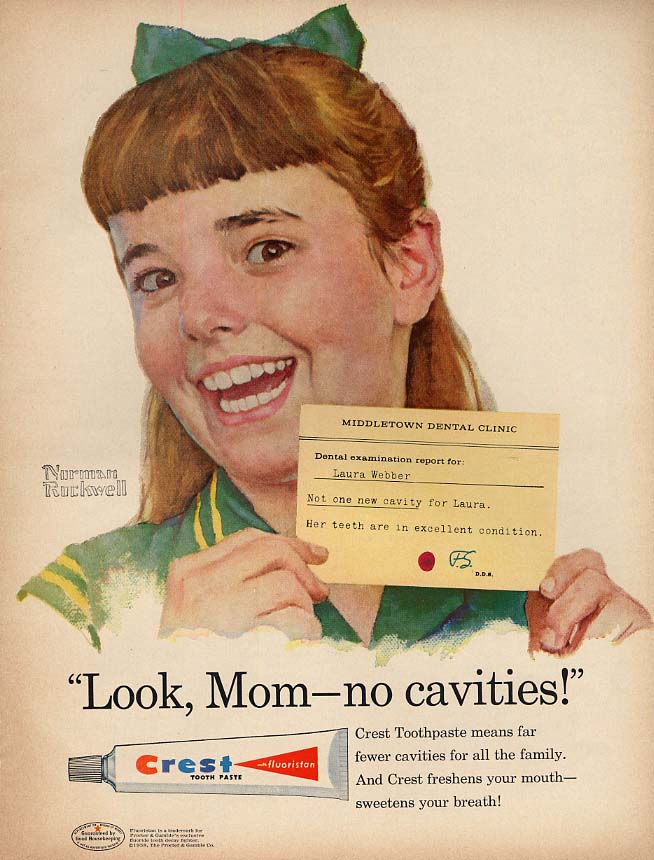 Look, Mom - no cavities Laura Weber for Crest Toothpaste ad 1958 Norman Rockwell