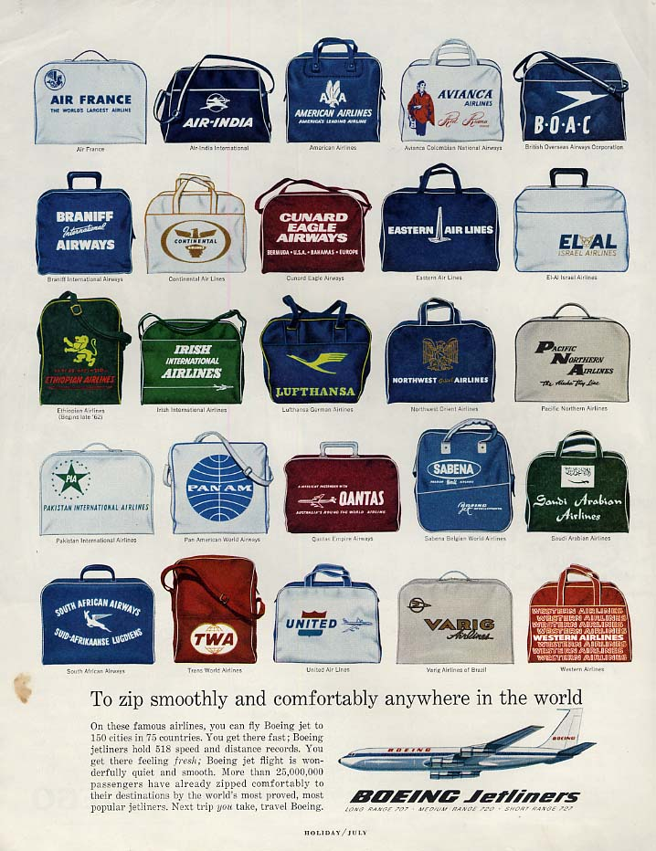 Zip smoothly anywhere in the world Boeing 707 ad 1962 logo travel bags H