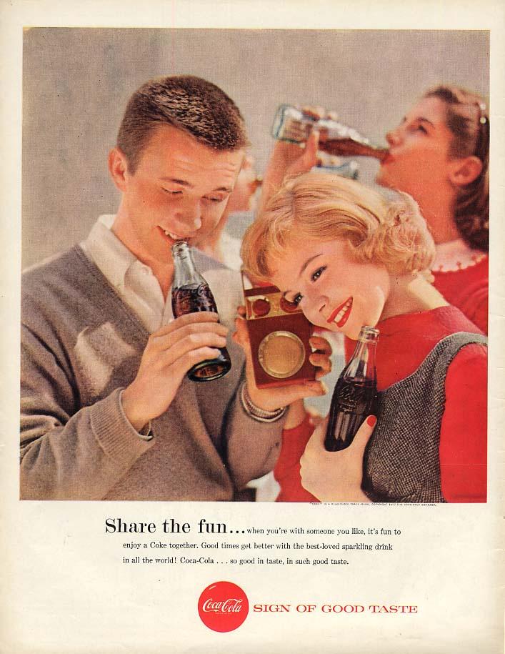 Share the fun Coca-Cola ad 1957 teens with transistor radio BL