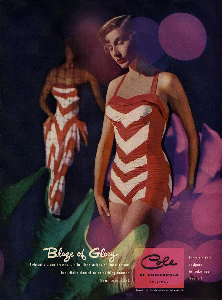 Blaze of Glory - Cole of California striped swinsuit ad 1951 L