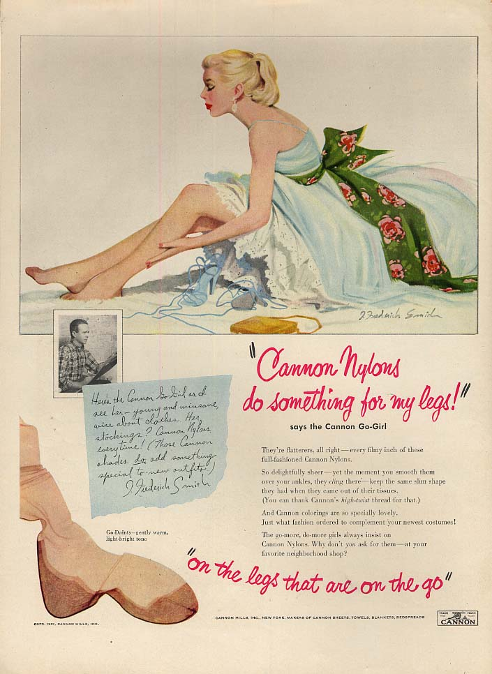 Cannon Nylons do something for my legs hosiery ad J Frederick Smith pin-up 1951
