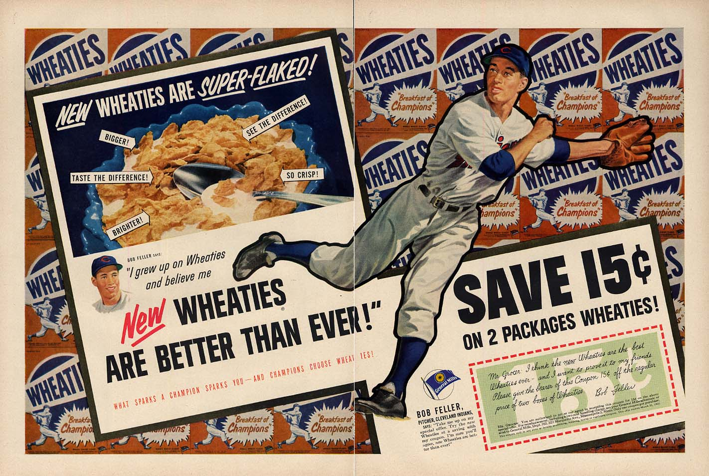 Cleveland Indians Bob Feller for Wheaties Cereal ad 1952 L