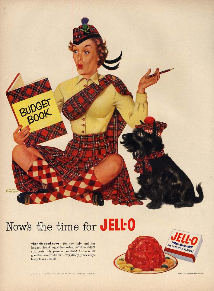 Now's the time for Jell-O ad 1952 girl in scotch-plaid outfit sitting down L