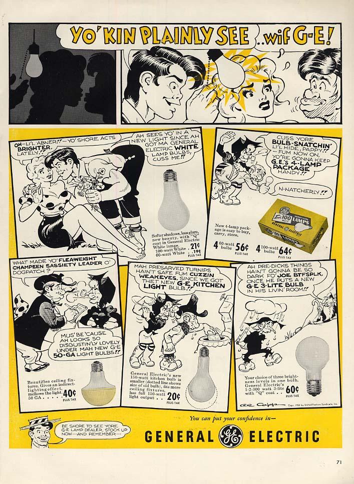 Yo' Kin Plainly See wif General Electric lightbulbs ad 1952 Al Capp Li'l Abner L