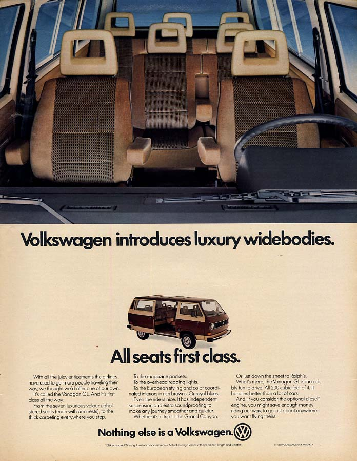 Volkswagen introduces luxury widebodies All seats 1st class Vanagon GL ad 1982 L