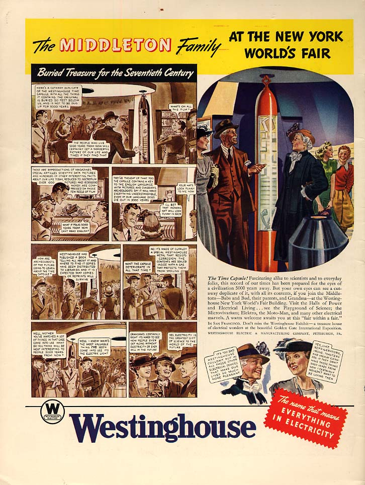 Middleton Family 1939 New York World's Fair ad Westinghouse Time Capsule L