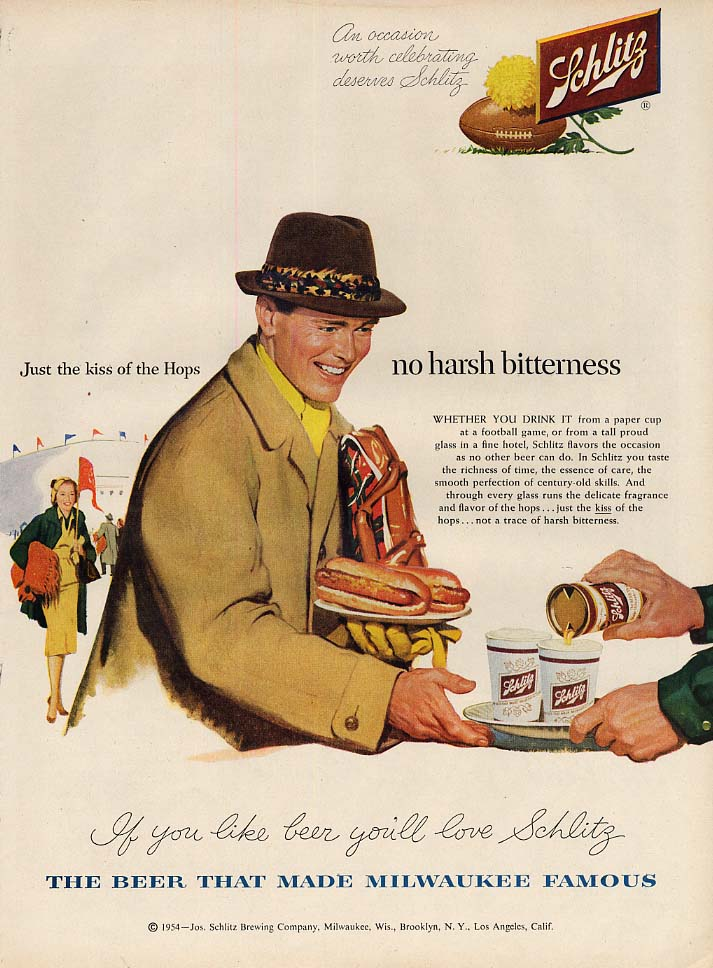 No harsh bitterness Schlitz Beer ad 1954 football game hot dogs & beer L