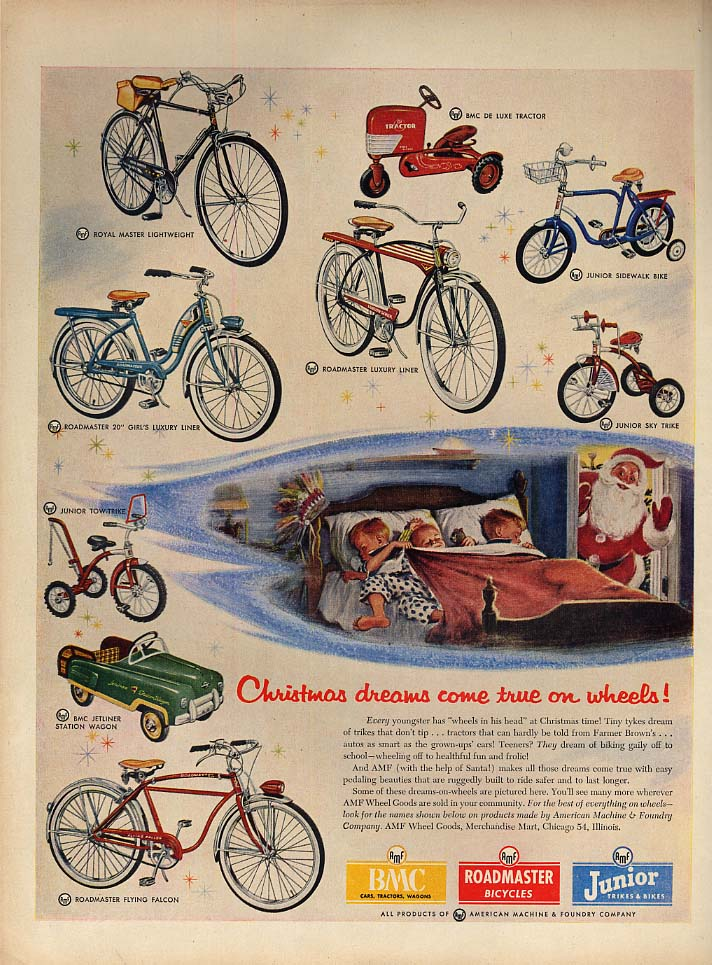 Christmas dreams come true AMF Bicycles ad 1954 Roadmaster Tractor tricycles L