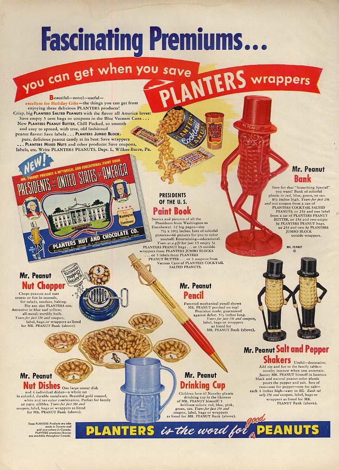 Fascinating Planters Peanuts Premiums ad 1954 bank salt & pepper nut chopper L